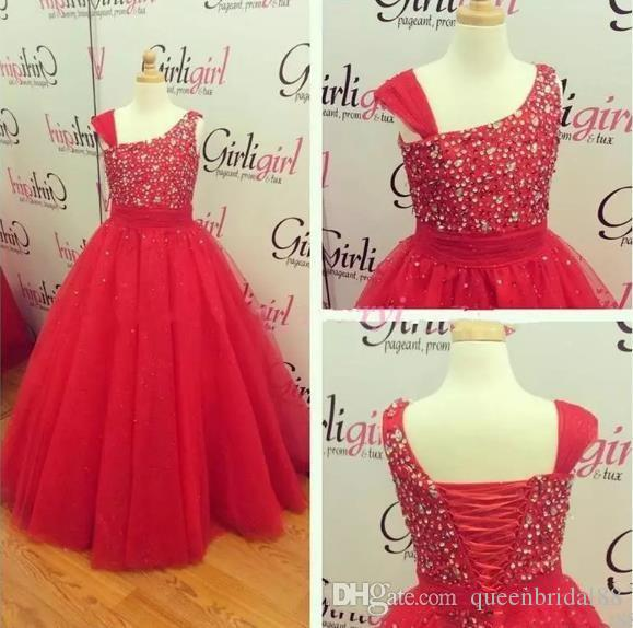 Real Photos Long A Line Pincess Girl's Pageant Dresses with Beaded Sequins Lace Up Back Baby Flower Girls' Dresses for Special Party