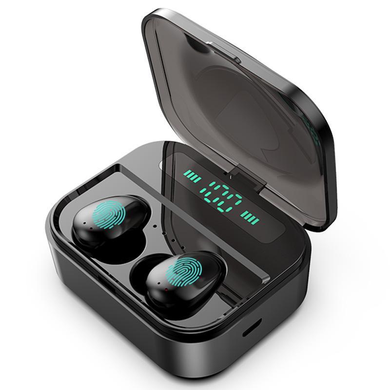 ستيريو سماعات الأذن الرياضة صحيح بلوتوث اللاسلكية سماعة 5.0 LED العرض IPX6 ماء سماعة ستيريو هاي فاي 6D سماعة مع بنك الطاقة