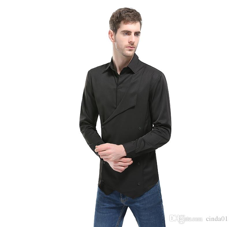 Men's Casual Shirts 2021 Mens Waistcoat Style Fake Two Piece Long Sleeve Pure Colors European American Designed Fashionable Blouse