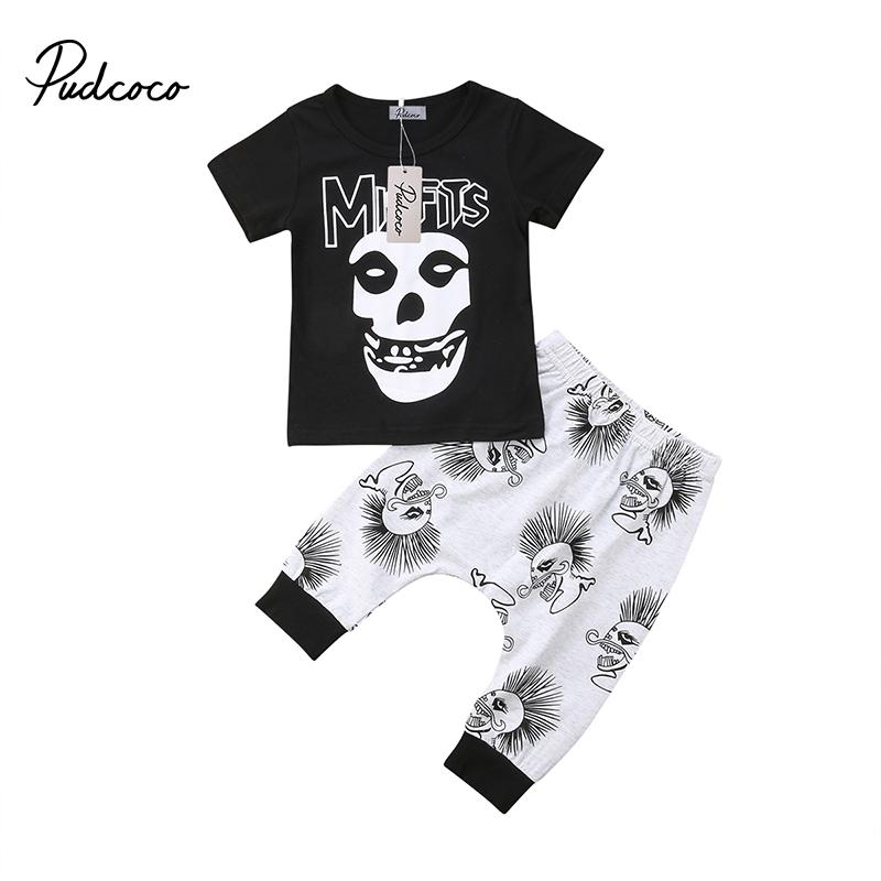 Halloween Toddler Kids Baby Boy Summer Clothes Hip-Hop Pants Skull Outfits T-shirt Tops+Long Pants Trousers Clothes
