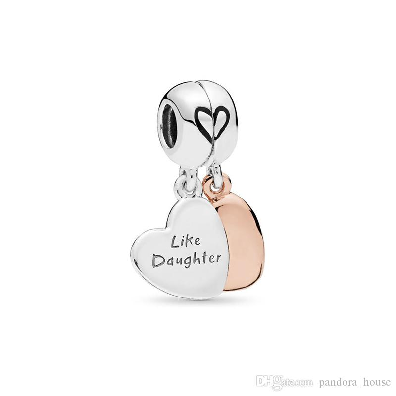 2019 Fête des Mères Authentique Real 925 Sterling Silver Mère et Fille Charmes Charmes Européens Perles Fit Pandora Bracelet Bijoux DIY