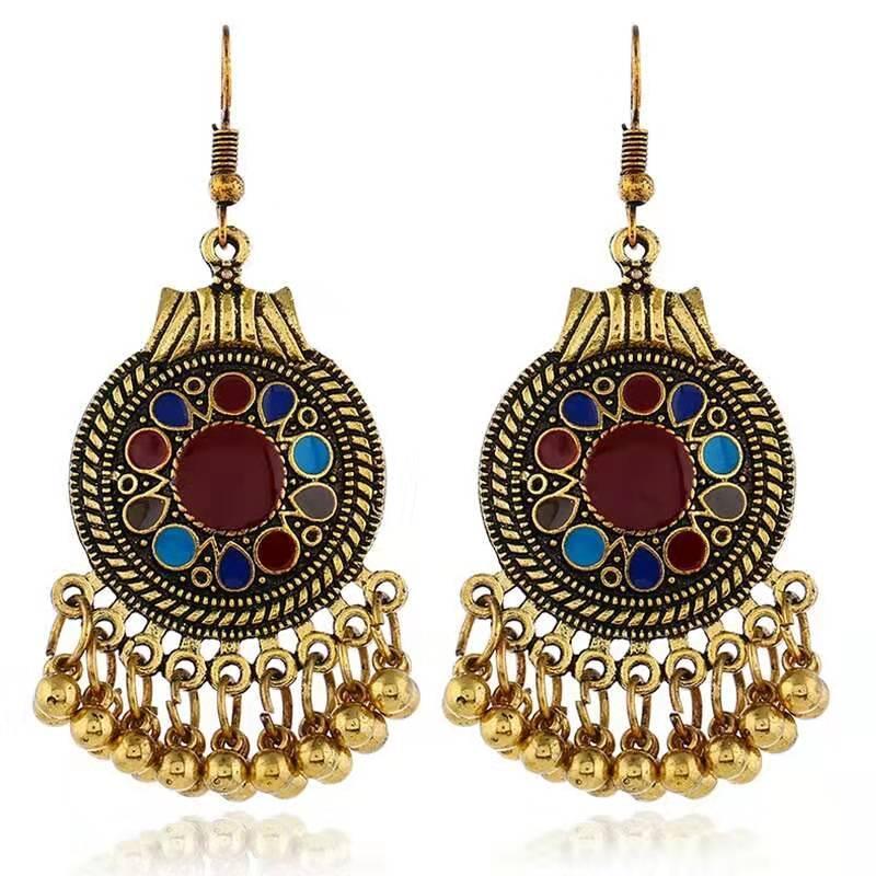 старинные Boho болтаться серьги для женщин роскоши дизайнера богемной этнического стиля падение кисточки серьга древних золотая индийская бахрома серьга ювелирных изделия