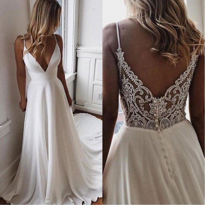 Einfache V-Ausschnitt Chiffon A Line Boho Brautkleider 2020 Perlen Applique Formale Brautkleider Günstige Benutzerdefinierte Braut Kleid Vestidos De Novia