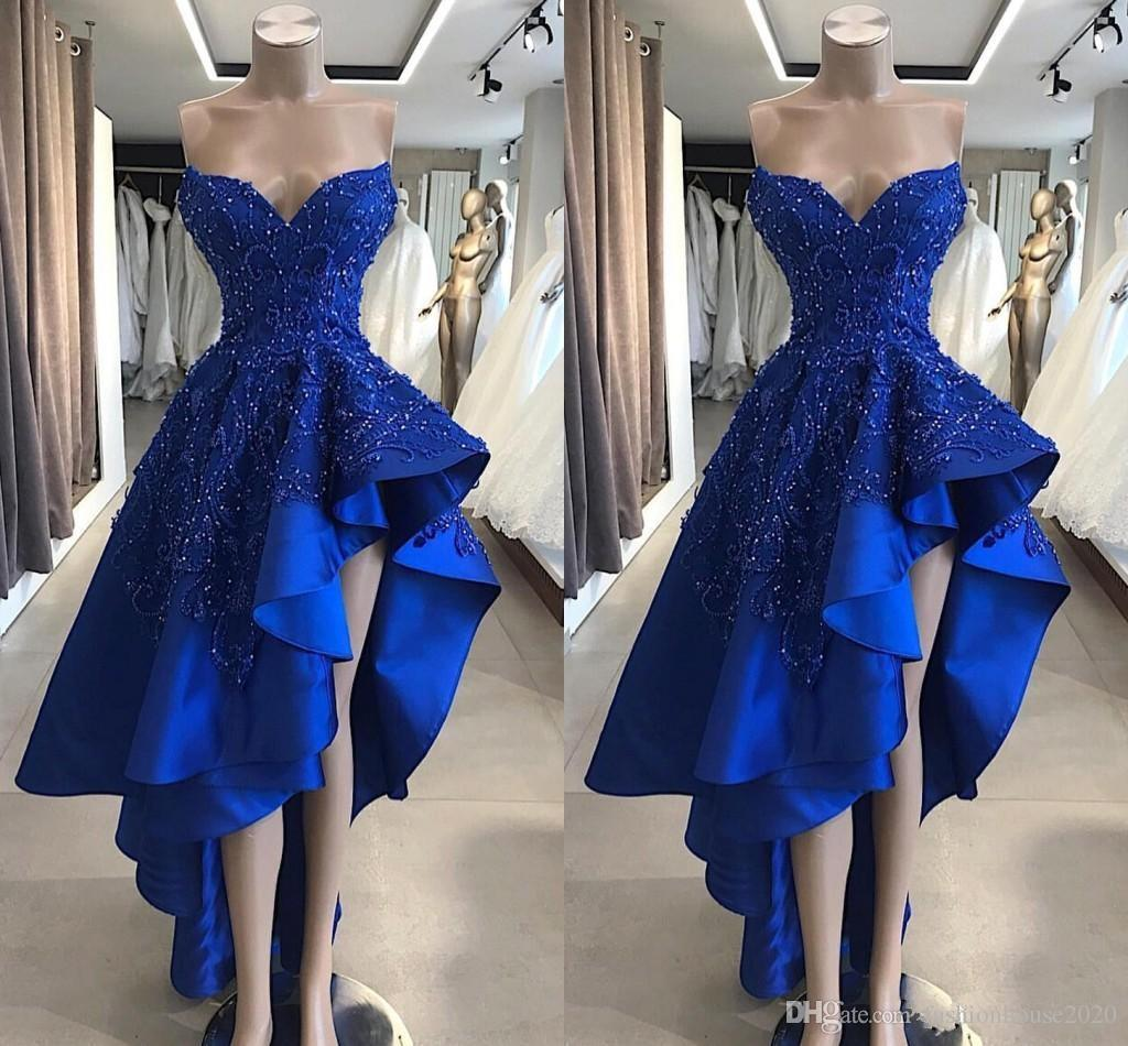 Sexy Royal Blue A Line Evening Dresses Wear 2019 Gorgeous Sweetheart Lace Appliques Beaded High Low Special Occasion Prom Dresses For Women