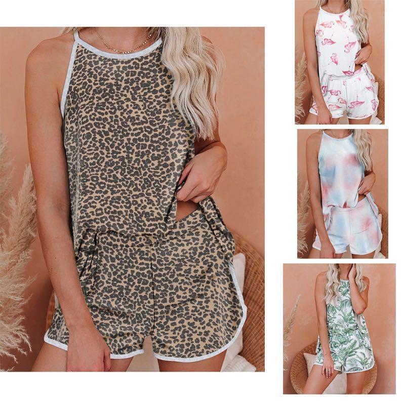 Tie Dye Sleepwear Sleeveless Summer Womens Designer Pajama Sets Leopard Floral Short Top With Shorts Womens Short Pants Sets