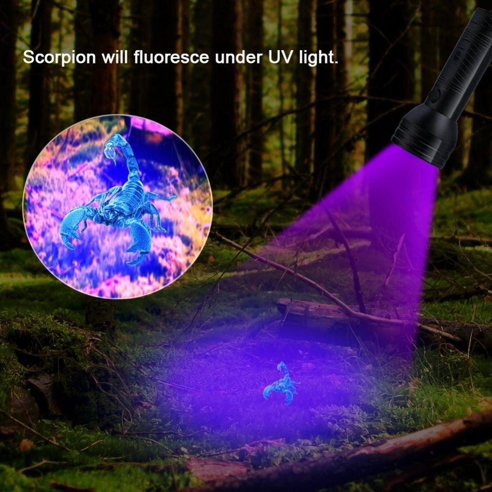 Alta calidad 51LED luz UV linterna UV 395-400nm LED antorcha lámpara de luz UV de seguridad de detección de batería AAA