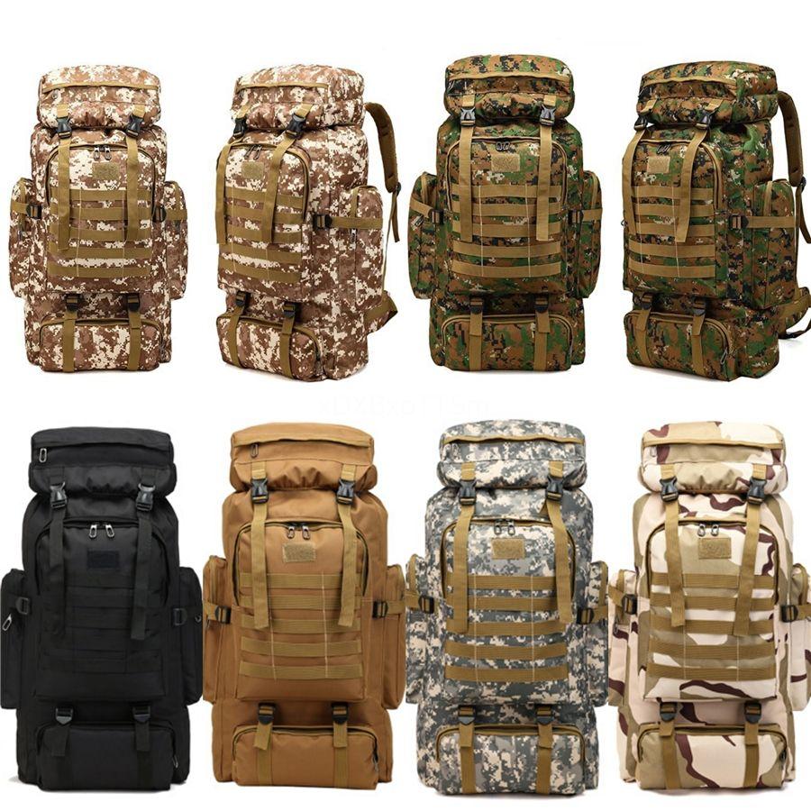 Calidad de Hight impermeable al aire libre militar Mochilas morral táctico Deportes acampa yendo de trekking Pesca Caza 12 colores 80L # 30285
