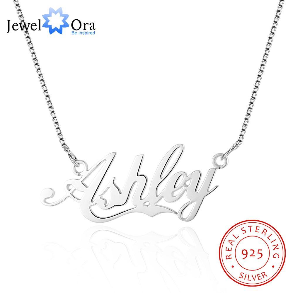 Portugués Nombre 925 collar de plata hechos a mano Collares regalo personalizado para ella (JewelOra NE101539)
