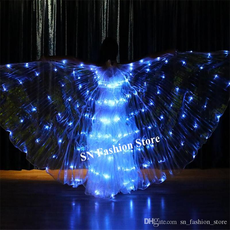 K03 Ballroom dance led costumes 4 colors change light colorful led wings luminous cloak butterfly glowing wing party wear dress show wears