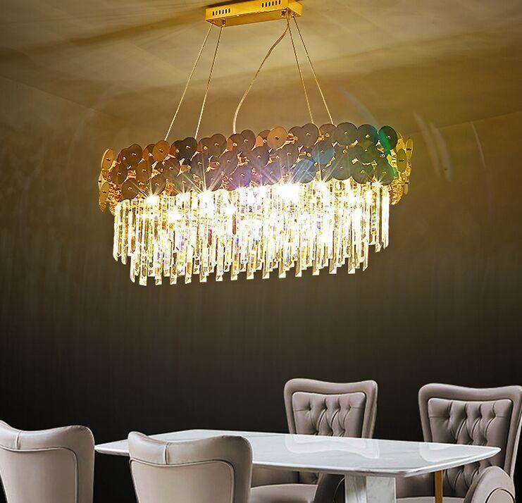 Lüks Modern Kristal Kolye Işıklar Odası Dikdörtgen Altın Ev Kristal Lamba Mutfak Ada Led Kristal Kolye Işıklar MYY Yemek İçin