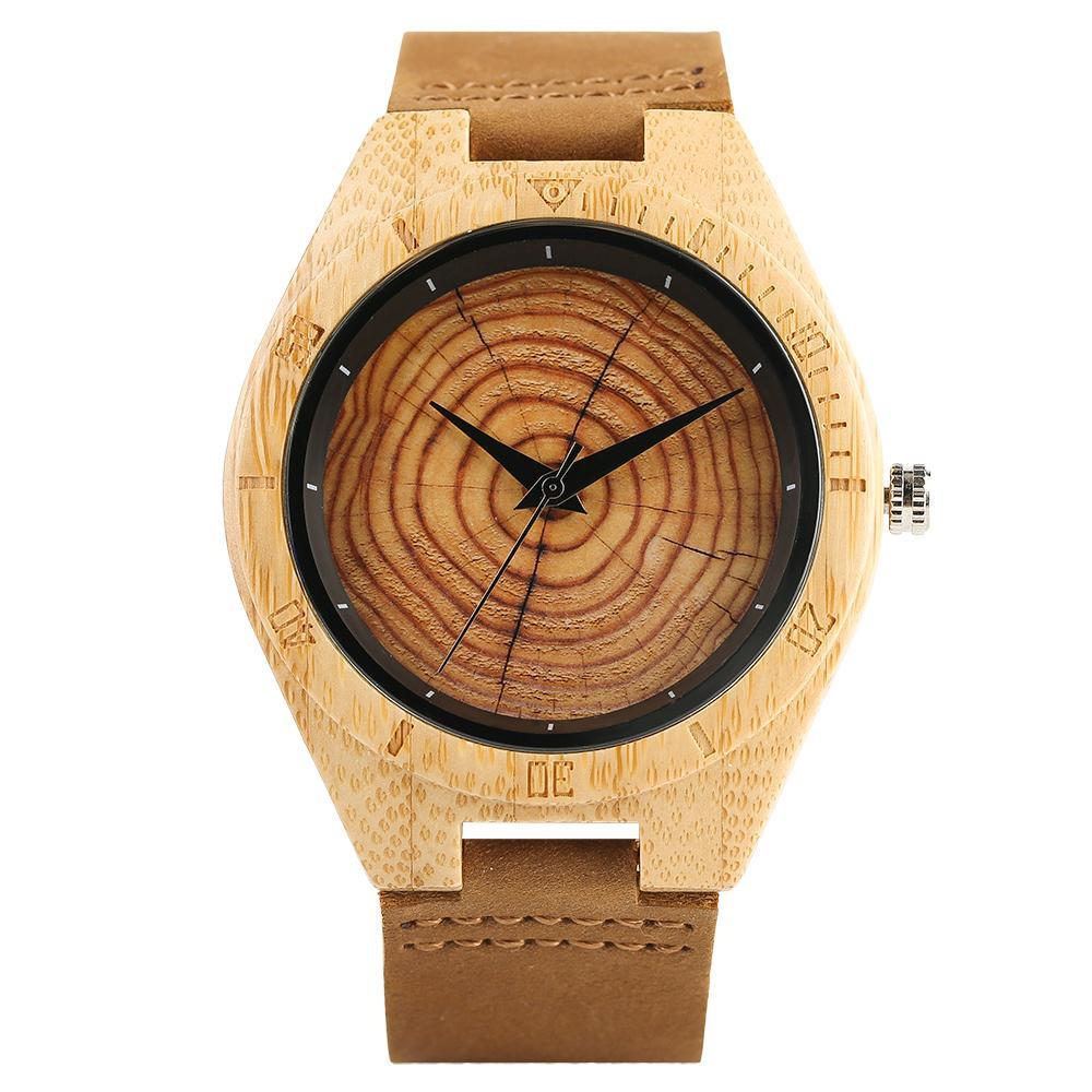 Erkekler Kadınlar Ağaç Damarı Gerçek Deri Bileklik toka El saatler için Trendy Şık el yapımı Kuvars Ahşap Saatler