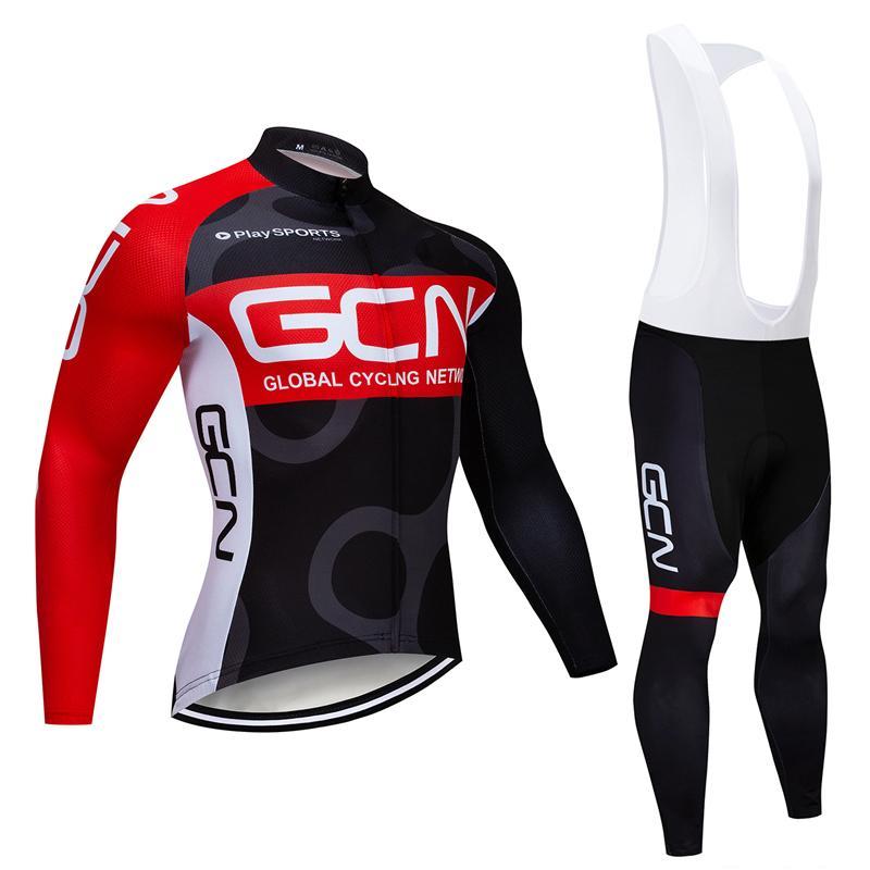 투르 드 프랑스 2020 프로 팀 GCN 겨울 사이클링 저지 열 양털 의류 턱받이 바지 로파 Ciclismo Inverno를 KIT