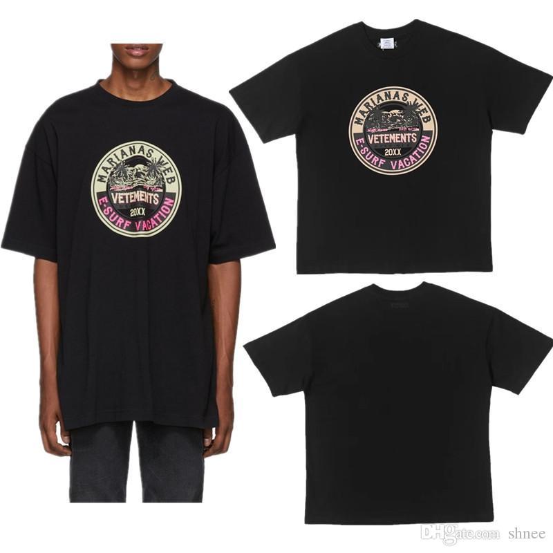 20XX Vetements 19FW Harf Baskılı T Shirt Erkekler Baskılı Kısa Kollu O Yaka T-Shirt Hip Hop Tee Tops