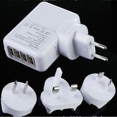 2.1A 4 개의 포트 범용 휴대 전화 USB 벽 충전기 AC 아이 패드 아이폰 삼성에 대한 여행 플러그 어댑터 (미국 영국 EU AU 선택 사항)