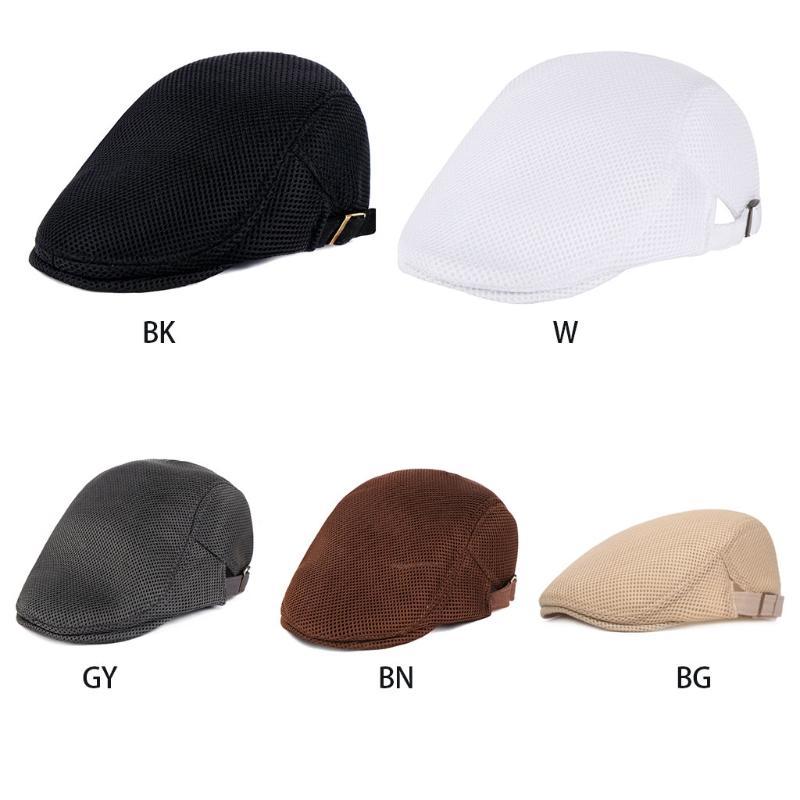 Moda New Men Nefes Mesh Yaz Şapka Newsboy Bereliler Cap Cabbie Düz Yumuşak Sürüş Açık Ayarlanabilir 5 Renk