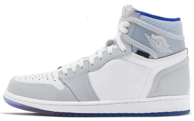 İyi Kalite 1 Yüksek Yakınlaştırma R2T Racer Mavi Basketbol ayakkabı erkekler Kadın 1s Yakınlaştırma Beyaz Gri Spor Sneakers ile Kutusu