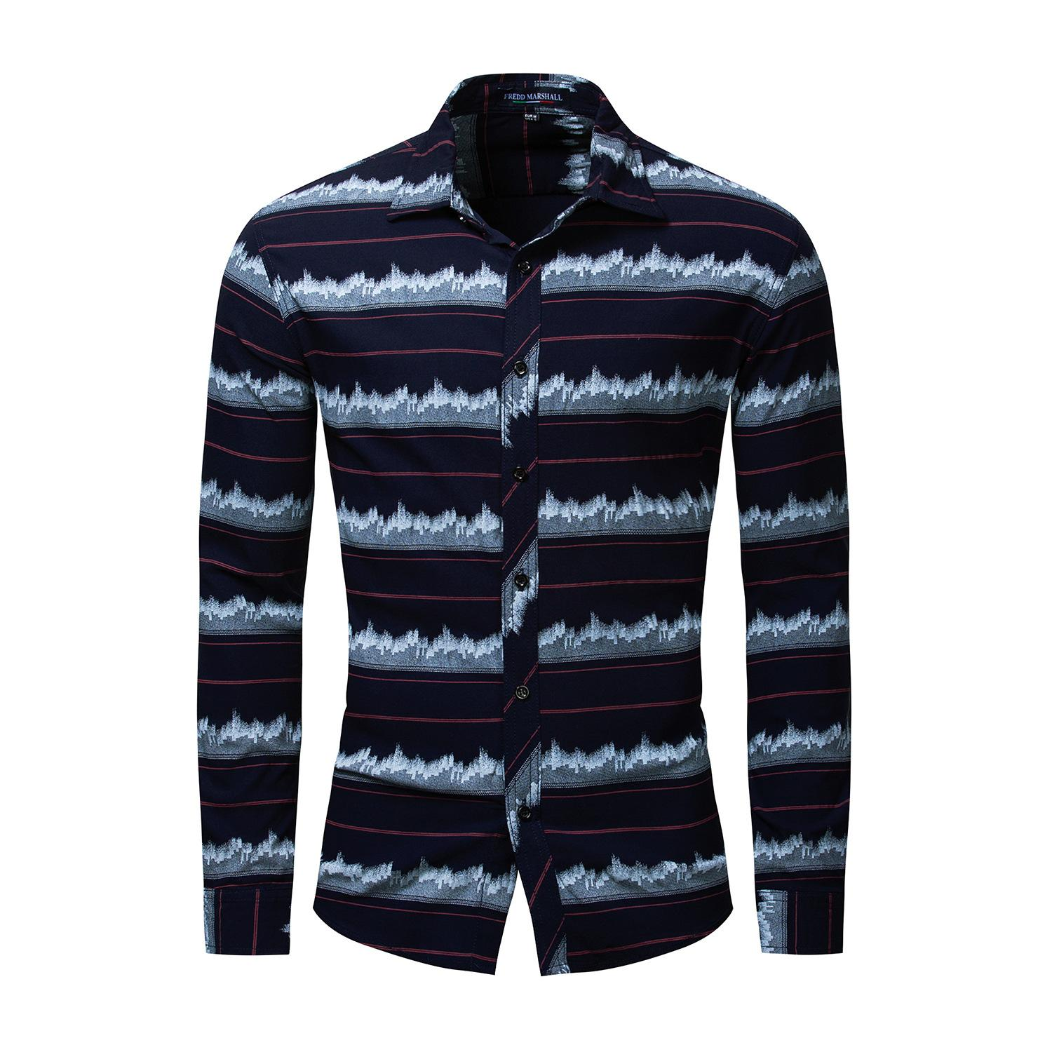 New large size pure cotton long-sleeved striped men's shirt