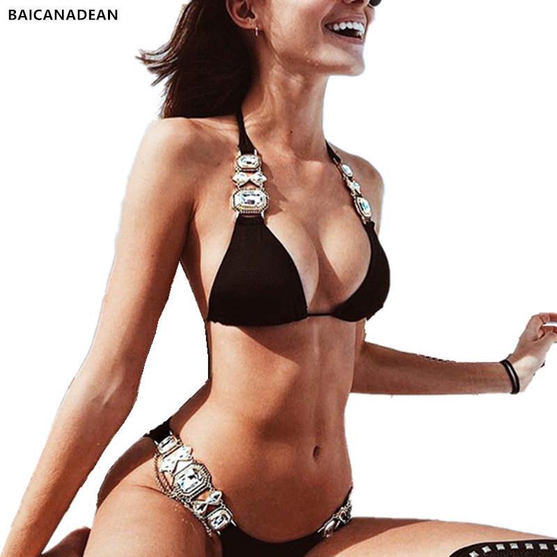 Yapay elmas Mayo 2019 Yeni Listeleme Kristal Elmas Bikini Seti Metal Zinciri Mayo Lüks Aristokrat Kadın Yüzme Suit Y200613