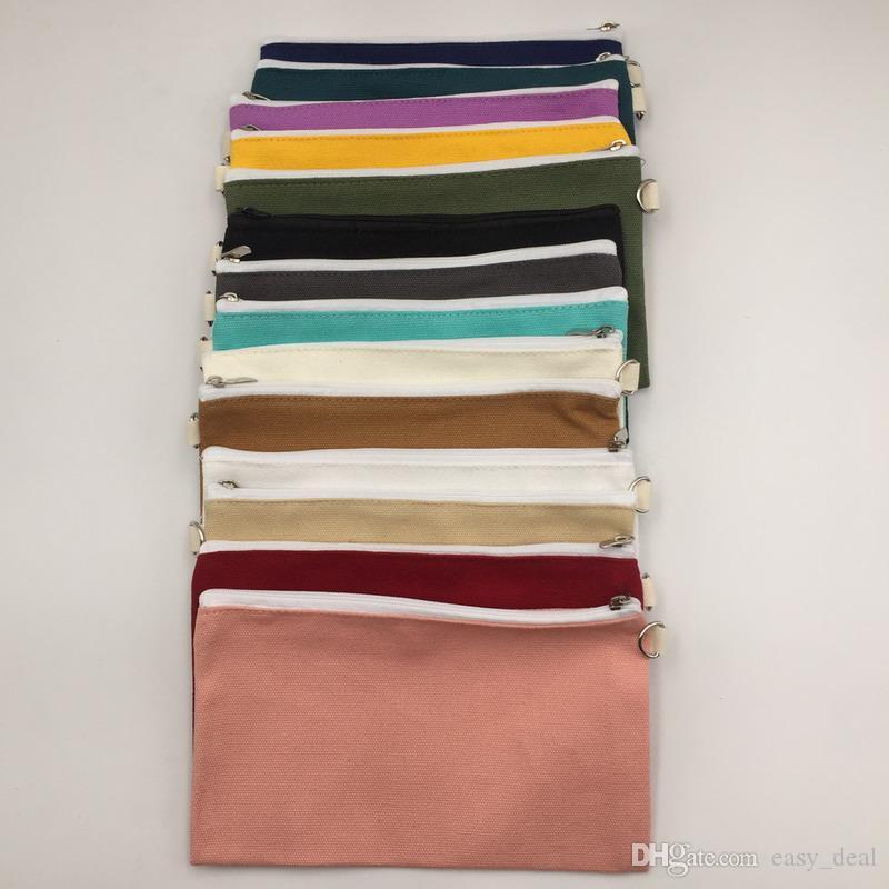 Coloful blank canvas zipper Pencil cases pen pouches cotton cosmetic Borse makeup bags Pochette per cellulare organizer