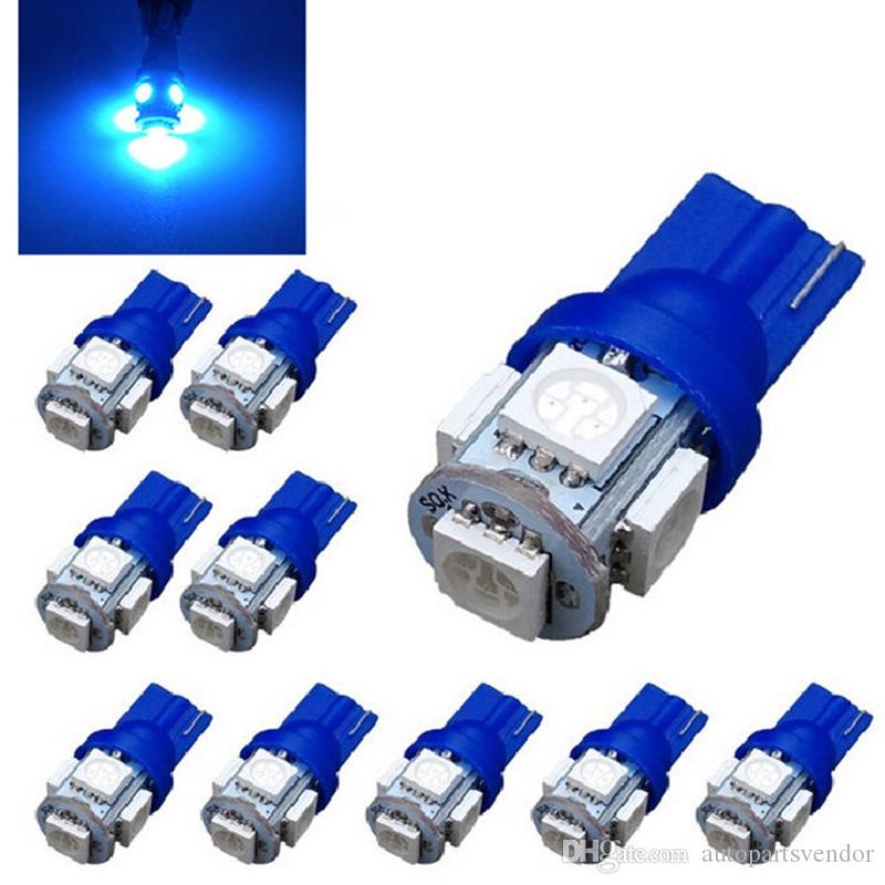 100pcs voiture lumière intérieure T-10 Wedge 5-SMD 5050 12V LED ampoules bleu super lumineux t-10 LED ampoule de lumière Auto Lights