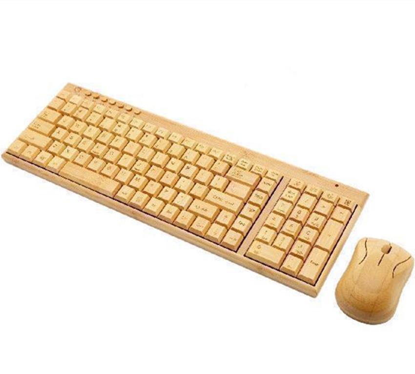 2.4G беспроводной Bamboo Gaming Keyboard Mouse Set Wireless Keyboard 1600DPI Gaming Mouse для ноутбуков PC компьютер
