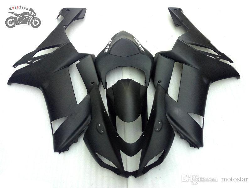Aftermarket fairings kit for Kawasaki Ninja ZX-6R 2007 2008 ZX6R 07 08 ZX 6R all flat black ABS plastic road racing fairing