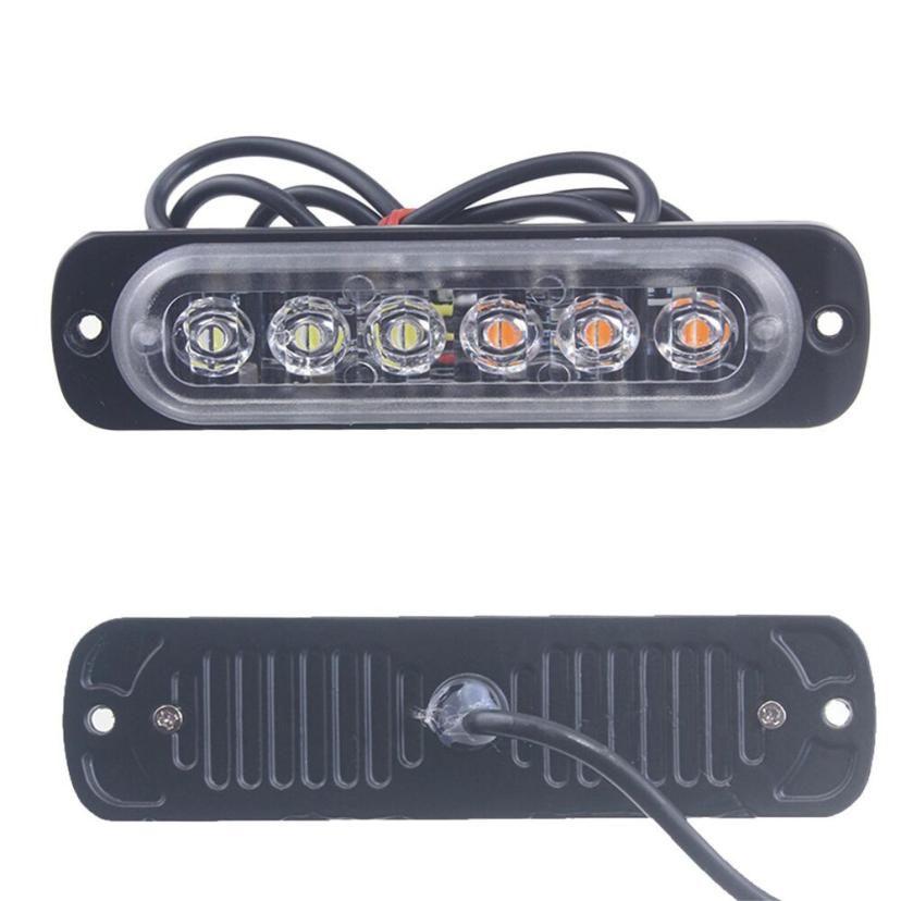 lampadine auto 2 pezzi ambra 6 LED camion dell'automobile di emergenza Lampeggiante Hazard Strobe Light Flash luce principale auto