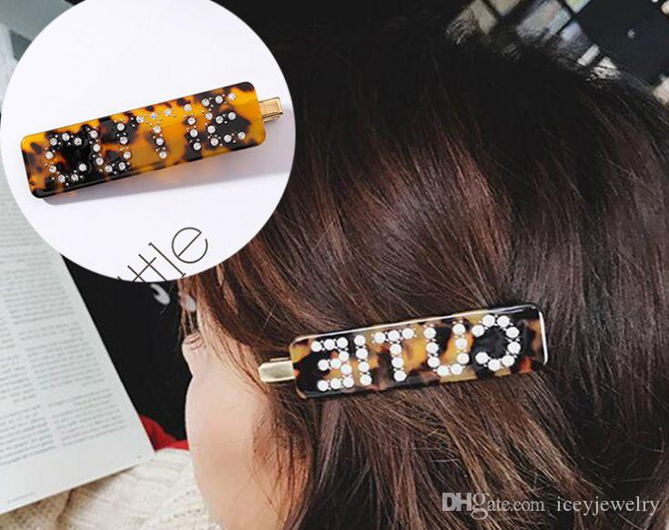 Acetic acid hairpin, Japan and South Korea joker leopard grain full drill letters word clip to tire hair female