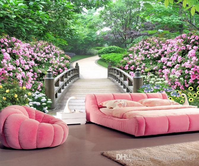 Personalizado foto papel de parede murais 3d estereoscópico parque paisagem jardim sala de estar tv fundo papéis de parede decoração da sua casa