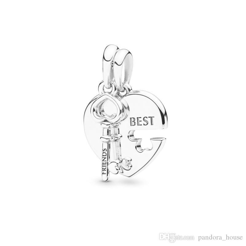 2019 été en gros réel Argent 925 meilleur ami clé Dangle Charm Perles Fit Pandora Bijoux 398130
