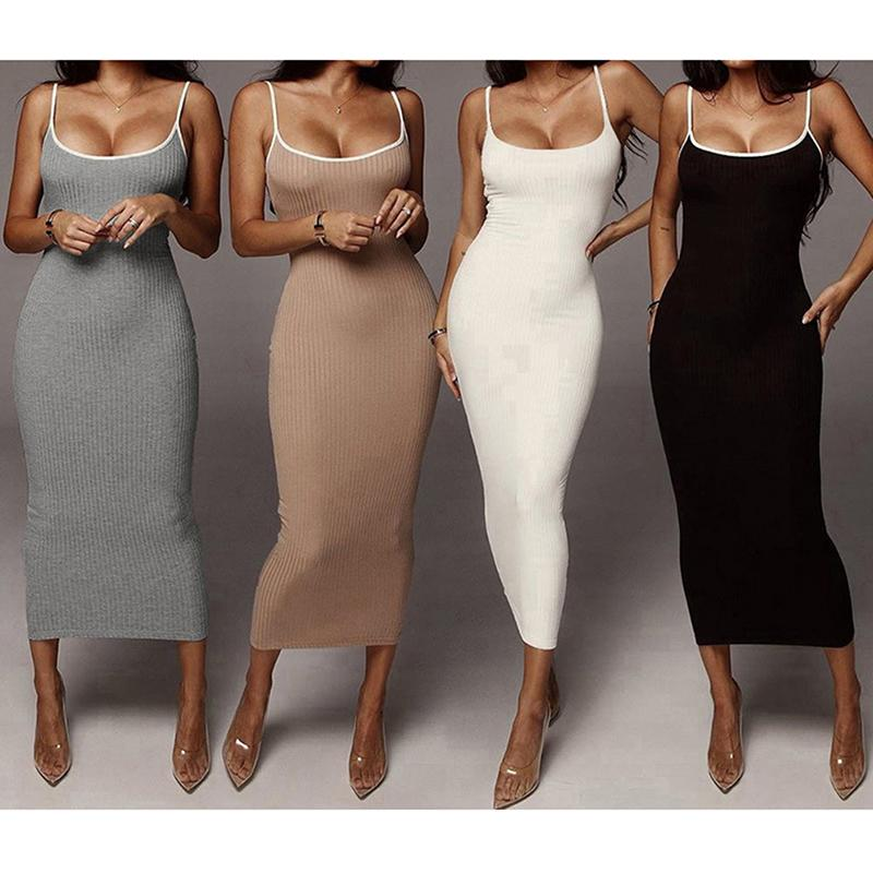 Günlük Elbiseler 2021 Bayan Yaz Kayışı Kadın Giysileri Kolsuz Plaj Katı Renk Tüp Seksi Elbise Üst Moda