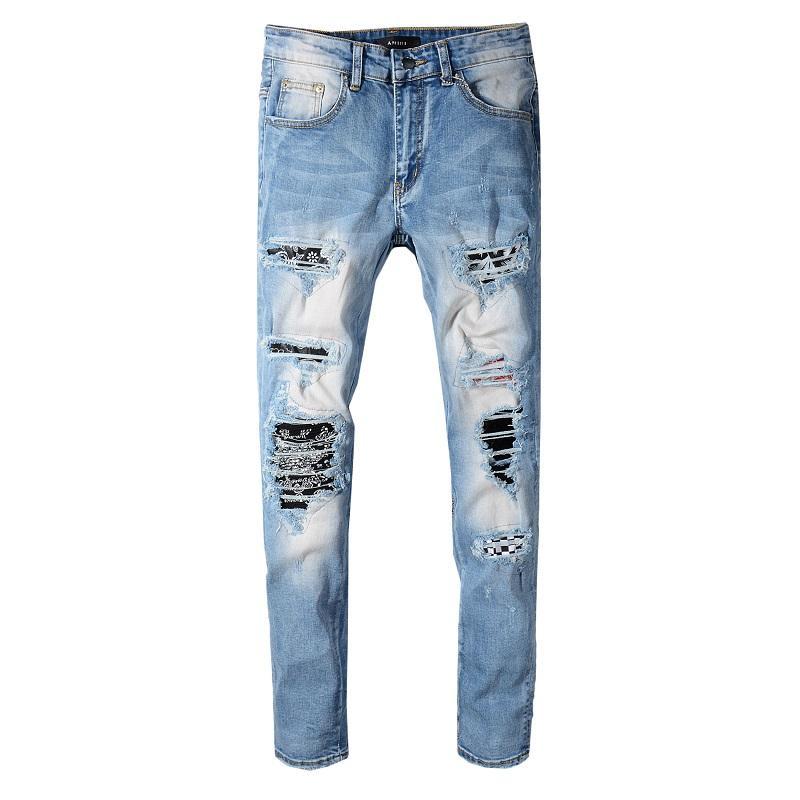2020 New novo estilo Mens Jeans afligido rasgado Biker Jeans Slim Fit Motociclista Denim Jeans Moda Pants Designer 4505