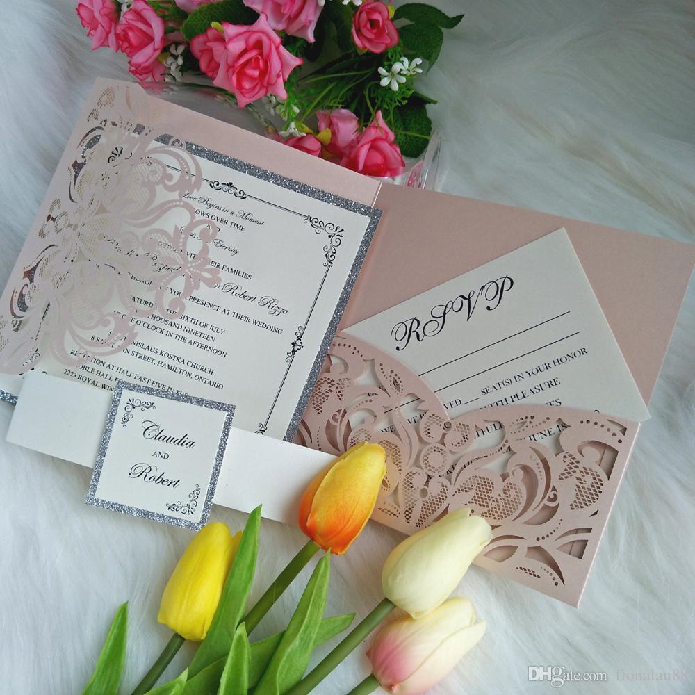 Blush Pink Body Invitation Cover Cut Cut Trifold Invitación de boda Suites DIY Personalizadas Invitaciones con el bolsillo de la tarjeta RSVP