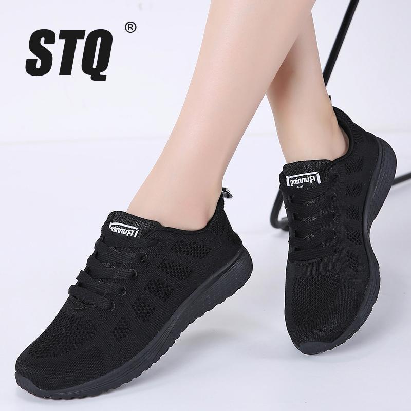 STQ 2019 zapatillas de deporte de otoño las mujeres planas de los zapatos femeninos zapatos casuales zapatillas de deporte de malla transpirable con cordones de las señoras de las mujeres zapatos para caminar A08 T200111