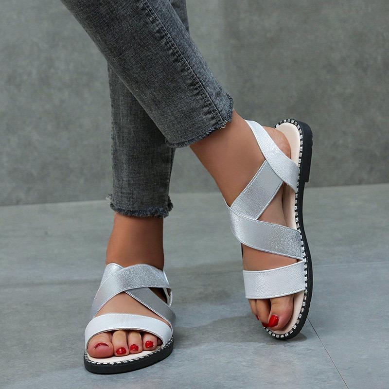 Glitter de couro sapatos femininos sapatos clássico elástico Ladies sandálias femininas Plano Mulher Verão Costura Roma Abrir Toe Feminino 2020 CY200518