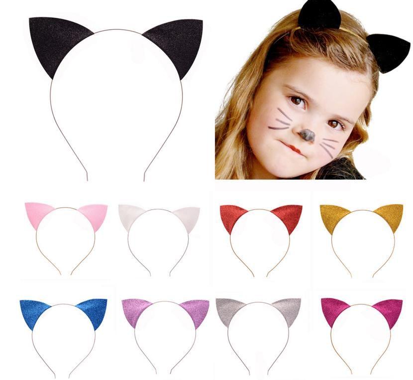 Cat Ears Headband 4 Pieces Halloween Cat Ears Headband Glitter Cat Ears Headband Halloween Fancy Dress Cat Woman Hairband Cosplay