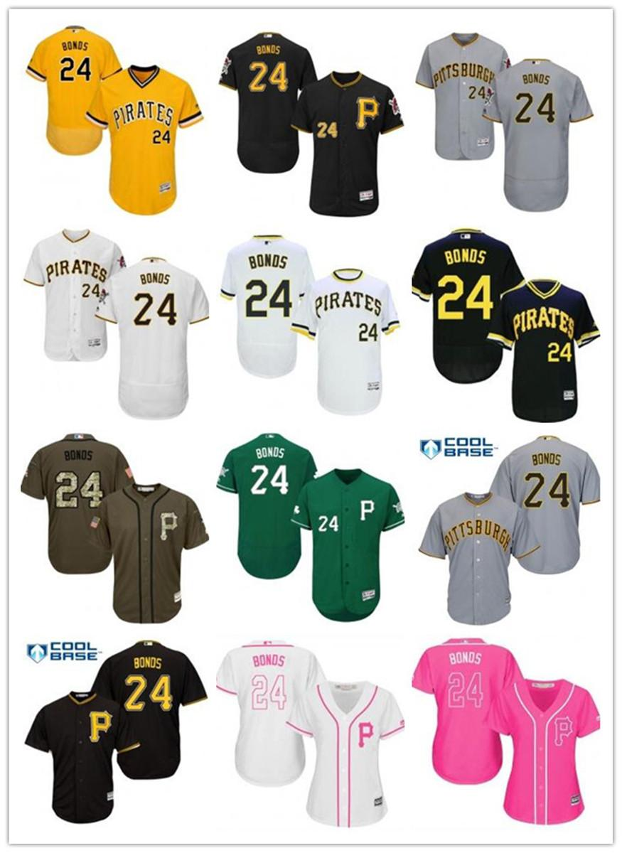 freies Schiff individuelle Pittsburgh Pittsburgh Pirates 24 Barry Bonds Baseball Jersey Pirates Baseball Wear Männer Frauen Jugend Trikots