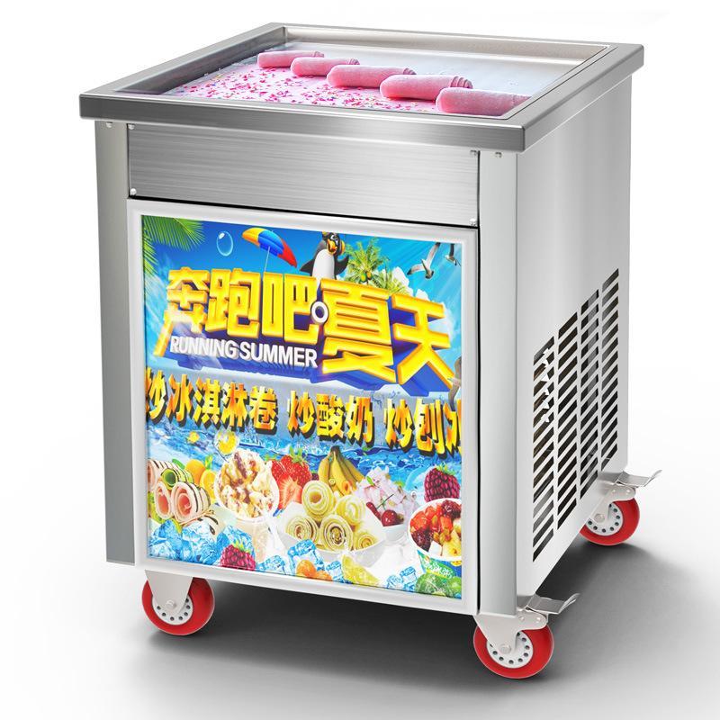 Intelligente temperatura controllata Thai Fried Ice Cream Roll Machine commerciale fritto Macchina del ghiaccio fritto yogurt macchina 110V / 220V