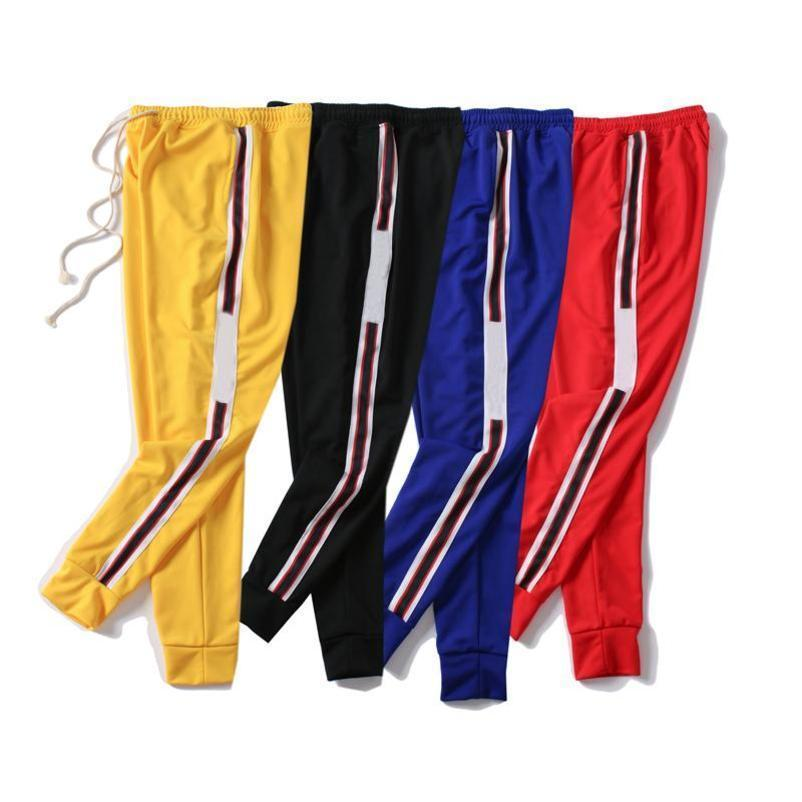 Mens Jogger 바지 새로운 Drawstring 스포츠 바지 높은 패션 4 색상 스트라이프 조깅 캐주얼 바지