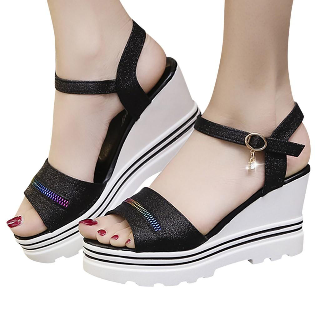 CHAMSGEND Women's Casual waterproof platform word buckle with fish mouth open toe shoes high heel wedge shoes outdoor sandals