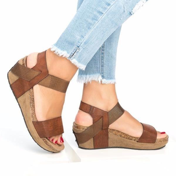Moda Sólido Plataformas de verano Sandalias 2019 Correa de tobillo Punta abierta Mujeres Sandalias de cuña Correa trasera Diseñador de zapatos