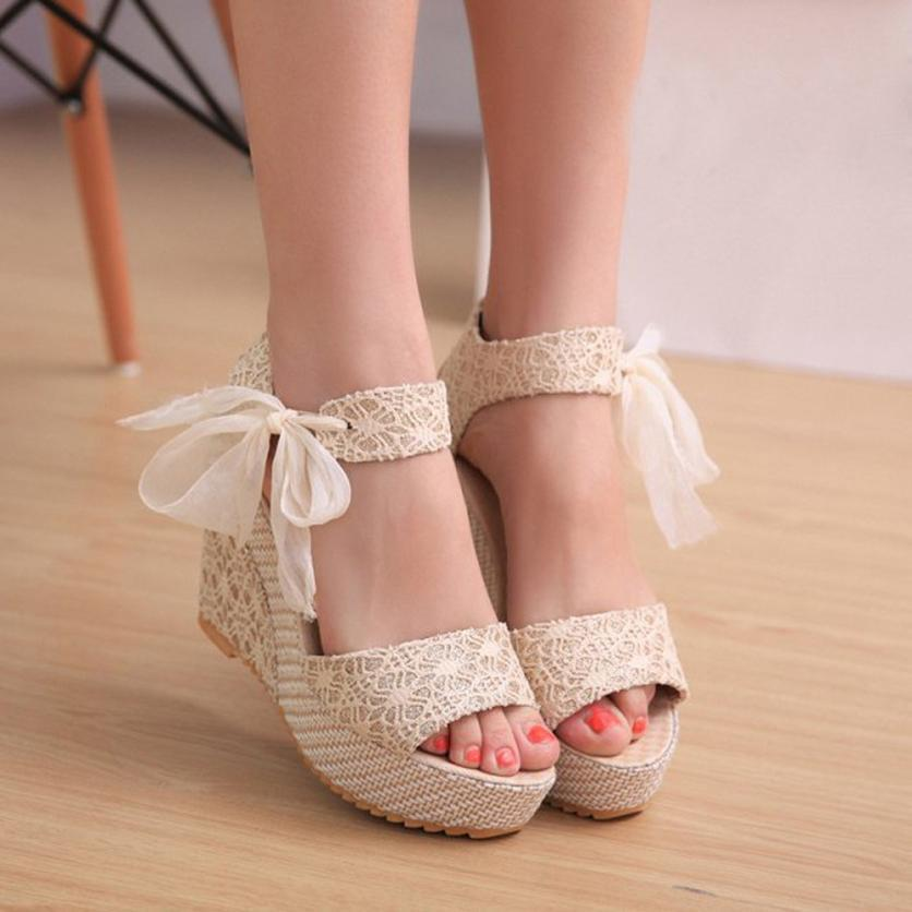 SAGACE high quality Fashion Slope With Flip Flops Lace-Up Wedges Loafers Sandals summer 2018MA30 MX200407