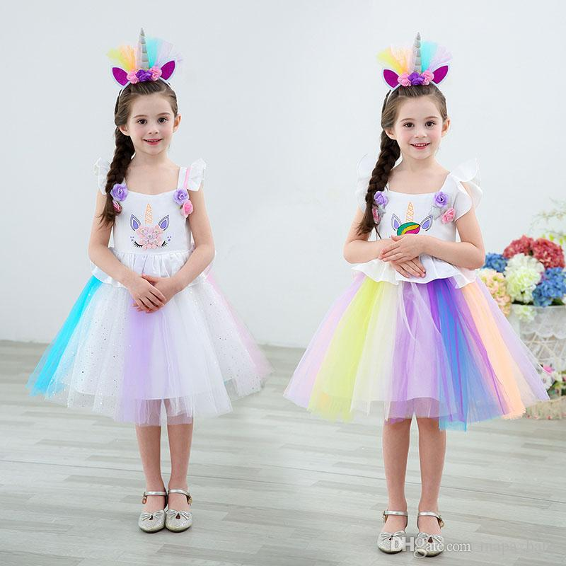 Girl Unicorn Dress Kids Baby Princess Rainbow Tulle TUTU Dresses Birthday Party Beads Sleeveless Performance Dress 7 Designs Drop Shipping