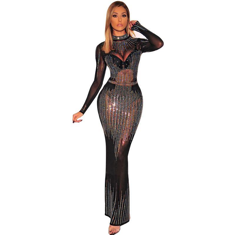 Женская одежда Взрывные Модели с длинными рукавами стенд-воротник сетки нерегулярной Горячие Drilling Transparent Длинные Платья