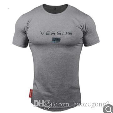 2019 yaz yeni tasarım Vücut Geliştirme Fitness Spor Koşu Adam Kısa Kollu T-shirt Gym Eğitim Erkekler Kas Sıkı Spor T Gömlek Tees Tops