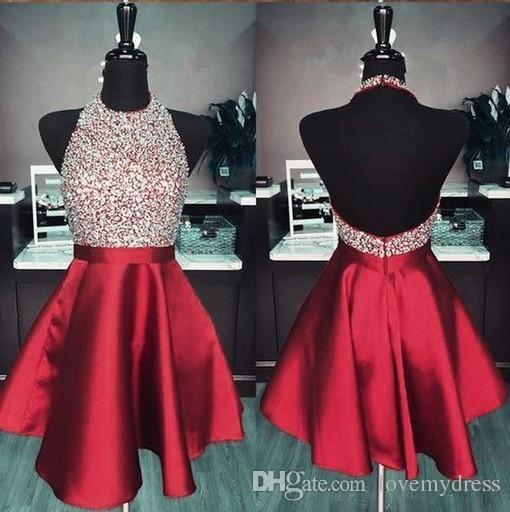 2019 Borgogna gioiello abiti da ritorno a casa economici A-line in rilievo paillettes breve vestito da promenade Dolce 16 ragazze abito da laurea abito abiti da spettacolo