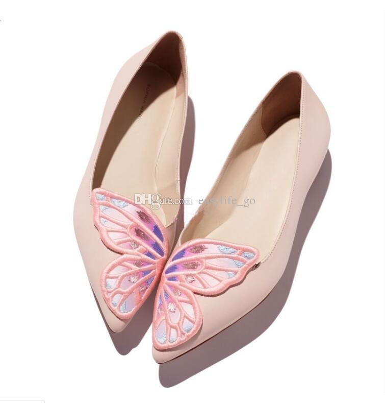 Sophia Webster Bibi Flats Kadınlar Sivri Burun Loafer'lar Kelebek Işlemeli Katır Oxford ayakkabı kayma Kadın rahat ayakkabılar moda ayakkabılar kadınlar