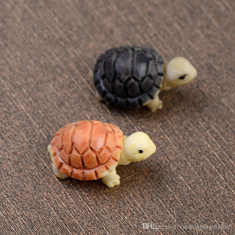 2 pcs dos desenhos animados da tartaruga Artesanato Fada do jardim em miniatura decoração do ornamento Resin Decor Terrário Figurines Micro Paisagem