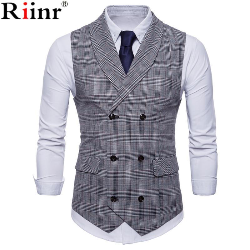 Chalecos de traje Riinr 2018 manera de la llegada Chaleco Hombre alta calidad ocasional de asunto sin mangas rayadas Double-Breasted de los hombres