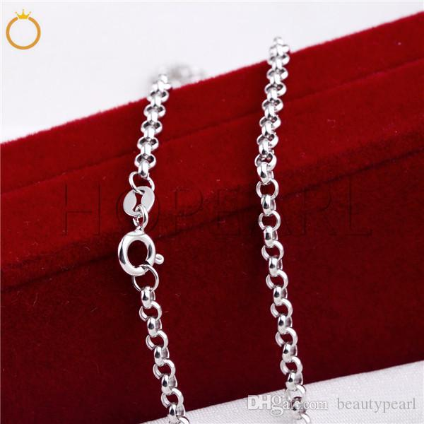 3mm Round Rolo Cable Link Chain Necklace 925 Sterling Silver Classic Chain Fine Jewelry 3 Pieces